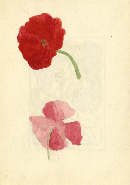 Pickford Robert Waller, Red and Pink Poppy Flowers - 1897 watercolour painting