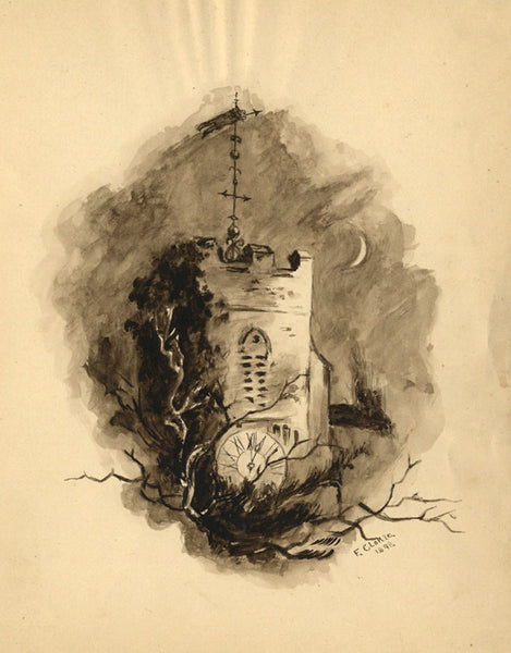 F. Clokie, Church Tower by Moonlight - Original 1898 watercolour painting