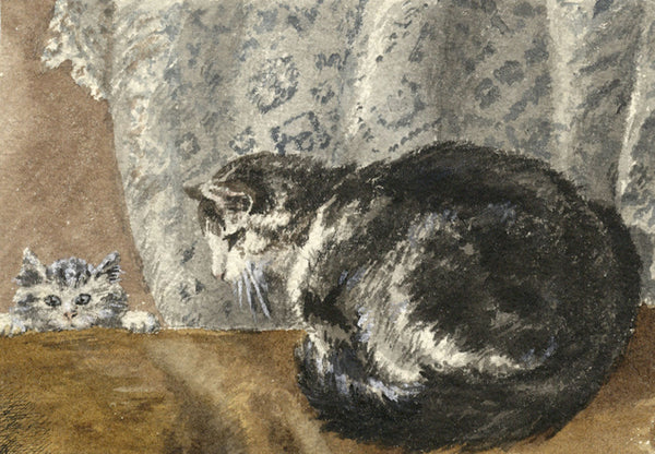Cat in Interior with Kitten - Original 1901 watercolour painting