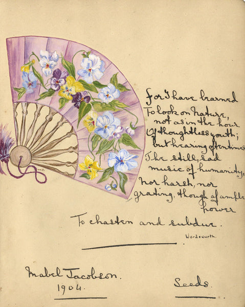 Mabel Jacobson, Pansy Flower Fan with Wordsworth Poem -1904 watercolour painting