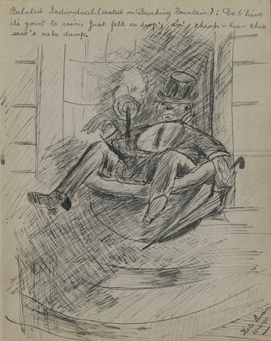 Kate Swain, Drunk Gentleman in a Fountain - Original 1901 pen & ink drawing