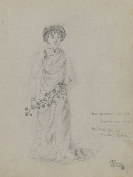 A., Lady in Dress with Flower Garland - Original 1902 graphite drawing
