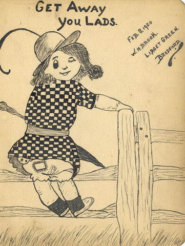Lidget Green, Young Girl Sitting on Fence - Original 1920 pen & ink drawing
