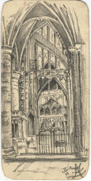 A.F., Arched Church Interior - Original 1922 graphite drawing