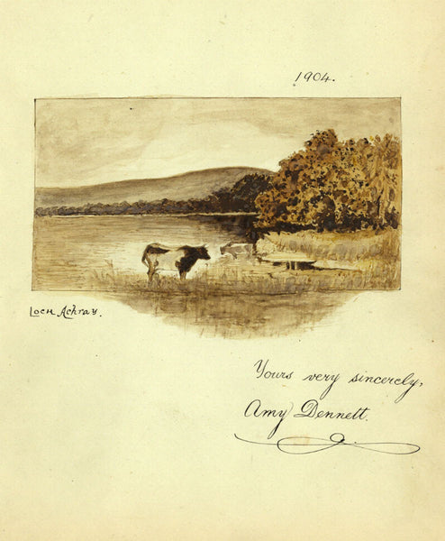 Amy Dennett, Cows Drinking in Loch Achray - Original 1904 watercolour painting