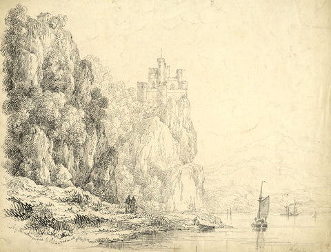 Sir Charles D'Oyly, Rheinstein Castle, Germany - 19th-century pen & ink drawing