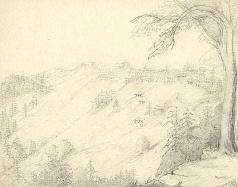 Lady Bryant, View of Simla, India - Original early 19th-century graphite drawing