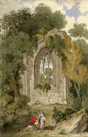 Richard Westmacott, Ruined Church - Original early 19th-century watercolour