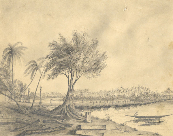 Henry Bryant, Bridge of Boats, Ceylon - Original 19th-century graphite drawing