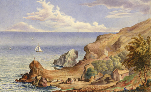 Henry Bryant, Rocky Headland - Original early 19th-century watercolour