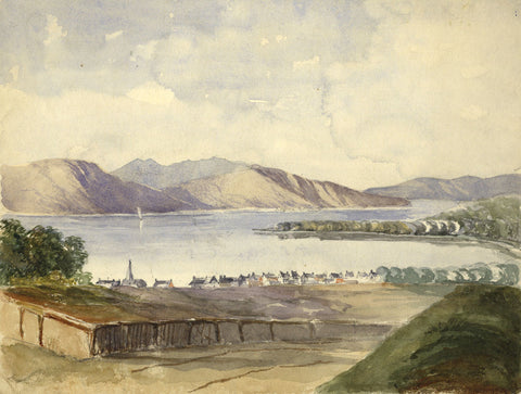 Henry Bryant, Lake with Houses and Church - Original 19th-century watercolour