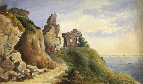 Henry Bryant, Ruins by the Sea - Original early 19th-century watercolour