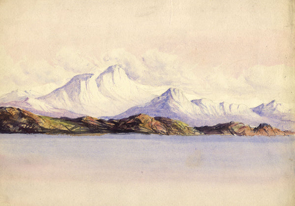 Henry Bryant, Mountains from the Sea - Original early 19th-century watercolour
