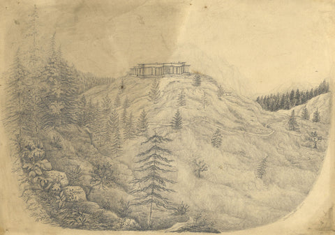 Lady Bryant, Strawberry Hill, Simla, India - 19th-century graphite drawing