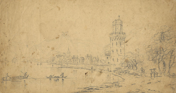 Lady Bryant, Wesel, Rhine, Germany - Original 19th-century pen & ink drawing