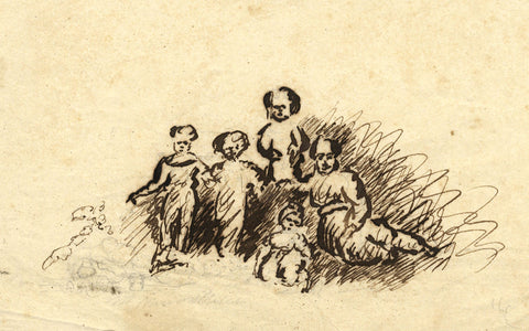 Henry Bryant, Family Group - Original early 19th-century pen & ink drawing