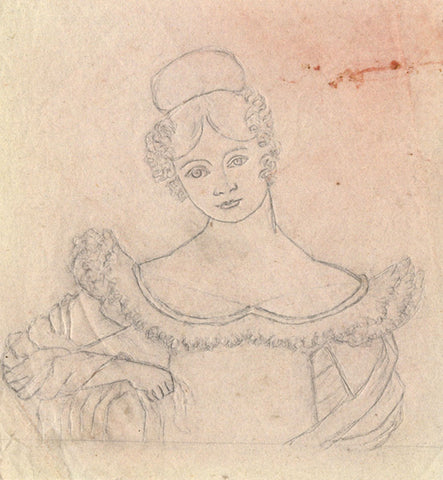 Henry Bryant, Sketch of a Lady - Original early 19th-century graphite drawing