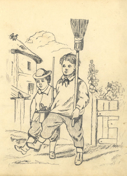 J.E. Jeffreys, Boy Chimneysweeps - Original late 19th-century graphite drawing