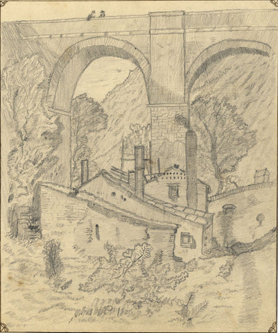 J.E. Jeffreys, Houses under a Railway Bridge -Late 19th-century graphite drawing
