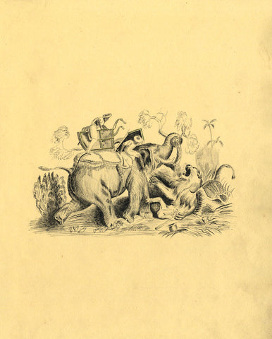 Elephant Attack during a Lion Hunt - Original mid-19th-century pen & ink drawing