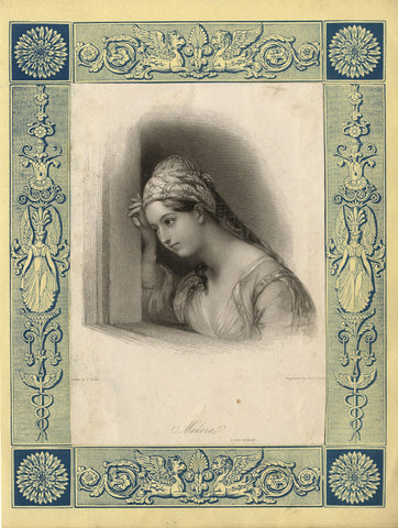 Lord Byron's Medora Female Portrait - Original mid-19th-century mezzotint print