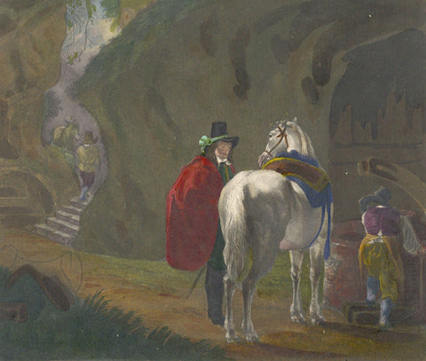 The Traveller and his Horse - Original mid-19th-century mezzotint print