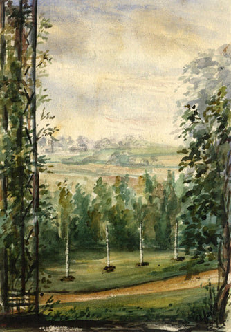 M. Conway , Belstead Overlook, Suffolk - Late 19th-century watercolour painting