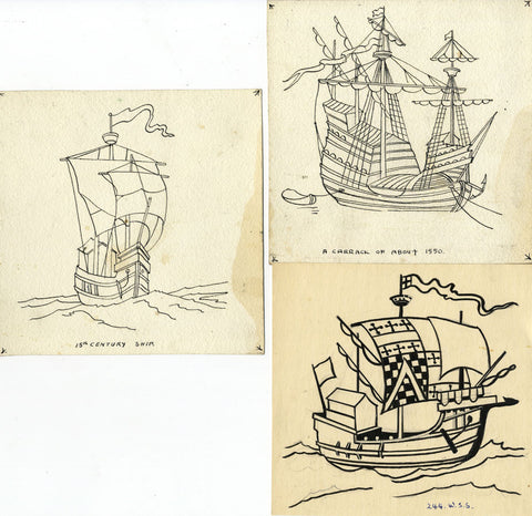 Tudor Fighting Ship Designs  - Original early 20th-century pen & ink drawings