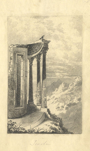 Mary Ellen Worthington, Temple of Vesta at Tivoli - 1830 graphite drawing