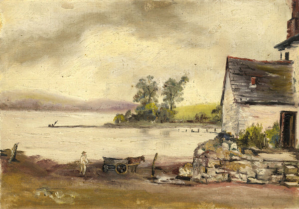 Figure, Horse & Wagon near the Lake - Original 19th-century oil painting