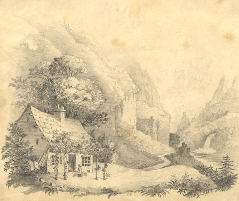 Cottage at Mountain Overpass - Original early 19th-century graphite drawing