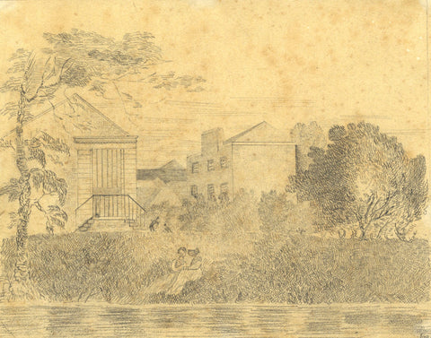 Ana Smith, Ladies Conversing Riverside - Early 19th-century graphite drawing