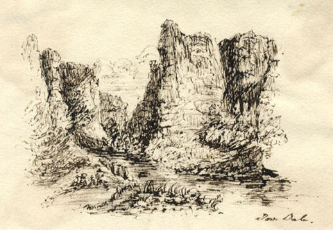 Dovedale Rocks, Peak District  - Original early 19th-century pen & ink drawing