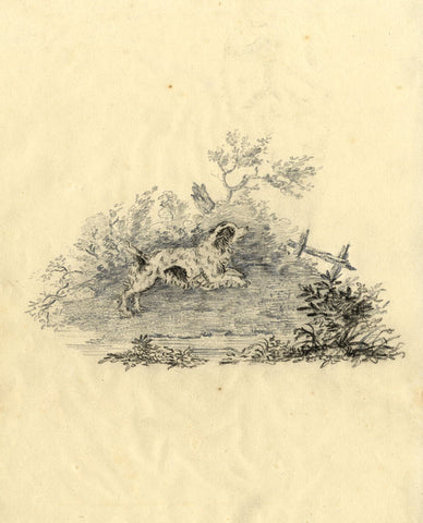 Spaniel Dog Jumping Over a Fence - Original early 19th-century graphite drawing