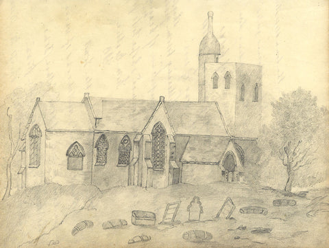 Country Church with Domed Tower - Original early 19th-century graphite drawing