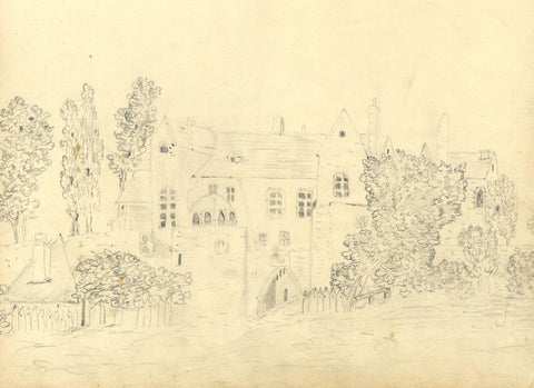 Stone Buildings in a Landscape - Original early 19th-century graphite drawing