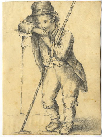 Ragged Boy Chimneysweep  - Original early 19th-century graphite drawing
