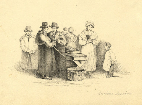 Figures Gathering at the Market - Original early 19th-century pen & ink drawing