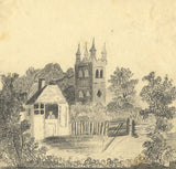 A.S., Church Tower with Spires - Original early 19th-century graphite drawing