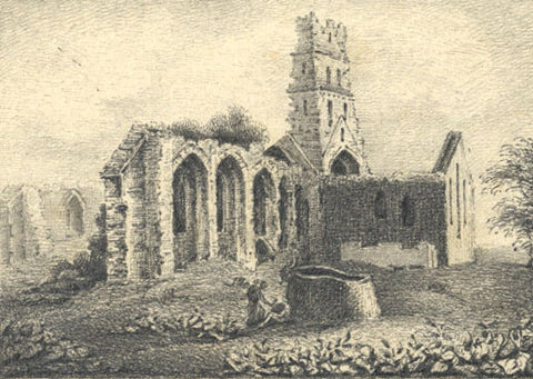 C. Riall, St. Andrews Church Ruins, Suffolk - Original 1823 graphite drawing