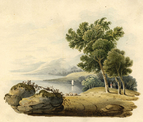 Mountain Vista by a Lake - Original 1821 watercolour painting