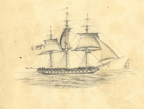 Frigate Warship in Full Sail  - Original early 19th-century graphite drawing