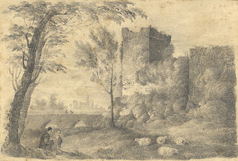 Conversing Amidst Castle Ruins - Original early 19th-century graphite drawing