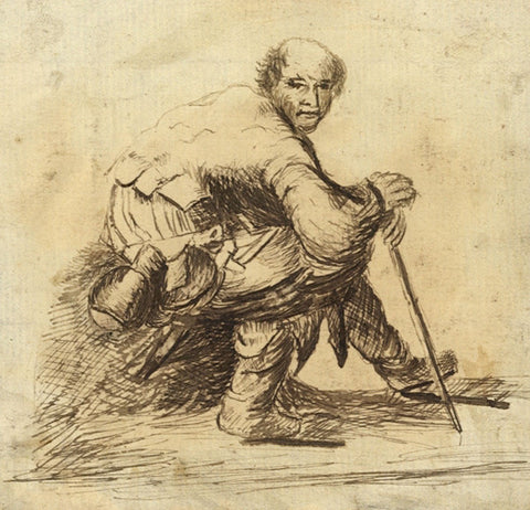 Seated Traveller with Cane  - Original early 19th-century pen & ink drawing