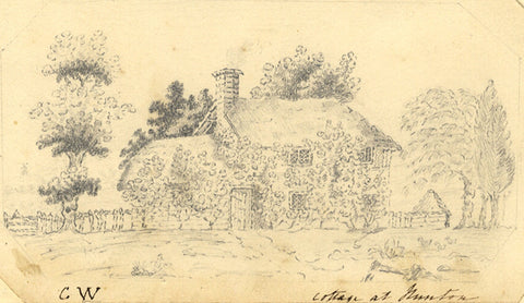 C.W., Cottage at Runton, Norfolk - Original 1813 graphite drawing