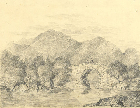 M.R. Warde, Brickeen Bridge, Killarney - Early 19th-century graphite drawing