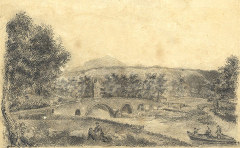 G. Osborne, Bridge near Castle Ruins - Early 19th-century graphite drawing