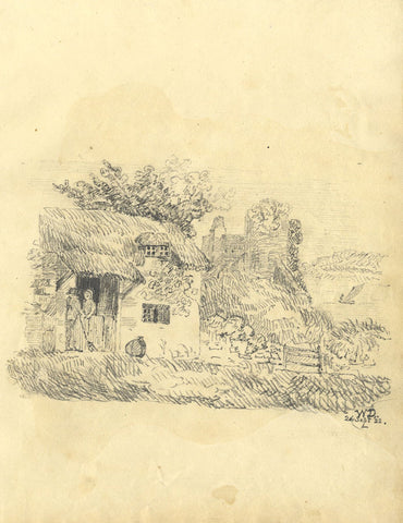 W.D.L., Figures in Cottage near Castle Ruins - Original 1822 graphite drawing