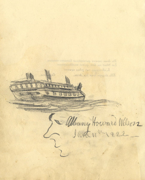 Albany Howard Wilson, Sailing Ship with Profile Sketch - 1822 graphite drawing