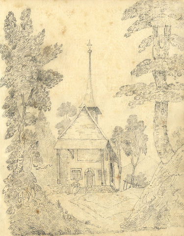M.R. Warde, Woodland Chapel with Spire - Original 1813 graphite drawing